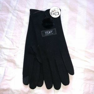 Black ugg pom pom tech gloves